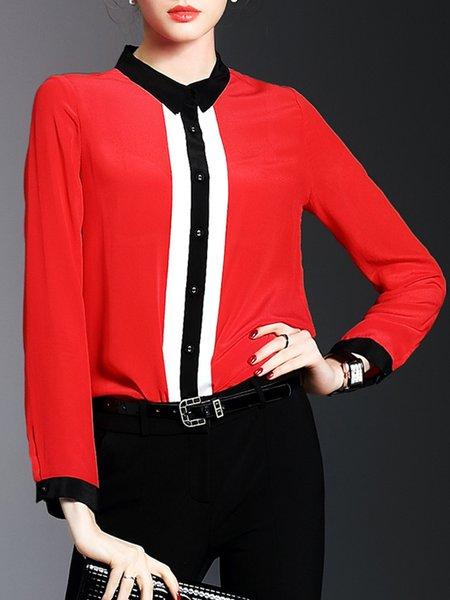 Shirt Collar Blouse Shift Daytime Long Sleeve Casual Chiffon Paneled Top