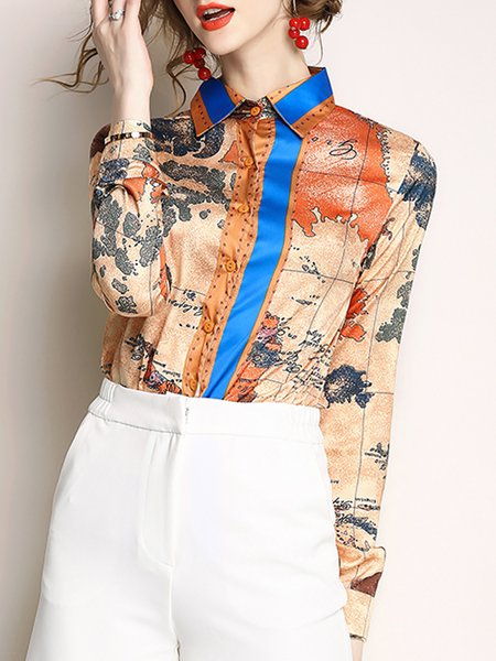 Shirt Collar Caramel Blouse Shift Long Sleeve Casual Printed Graphic Top