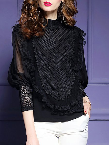 Balloon Sleeve Lace Elegant Crochet-trimmed Top