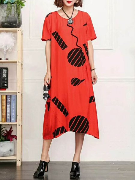 Linen Dress Shift Daily Short Sleeve Polka Dots Dress