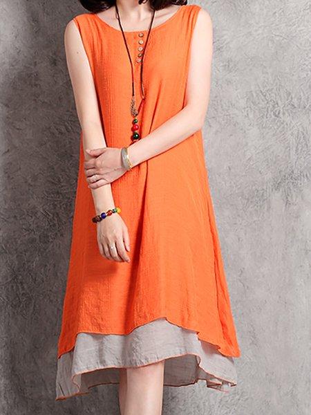 Linen Dress Shift Daily Sleeveless Cotton Dress