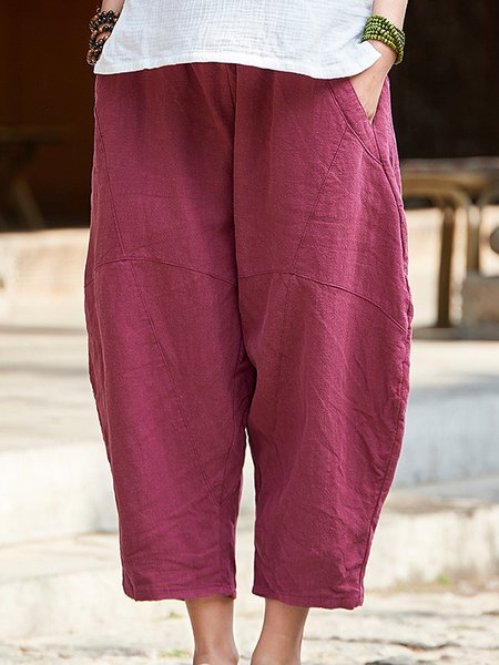 Shift Cotton Casual Gathered Summer Linen Pants