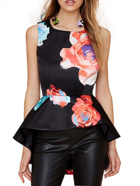 Black Sleeveless Printed Floral Asymmetrical Tanks and Cami