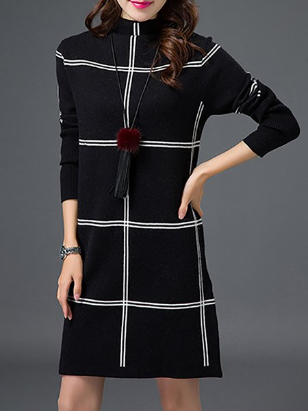 Turtleneck  Midi Dress Daily Long Sleeve Checkered/Plaid Dress