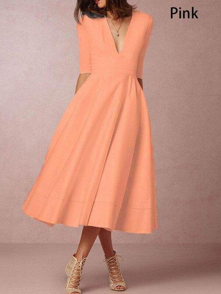 Midi Dress A-line Daily Half Sleeve Sexy Dress
