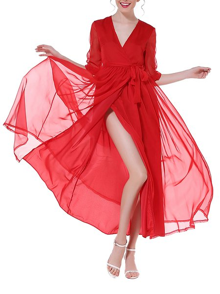 Beach Holiday Half Sleeve Wrap Chiffon Swing Maxi Dress