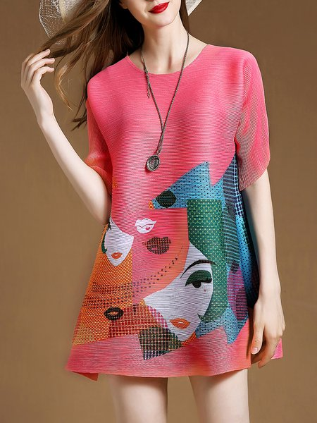 Girly Pleated Graphic Printed A-line Mini Dress