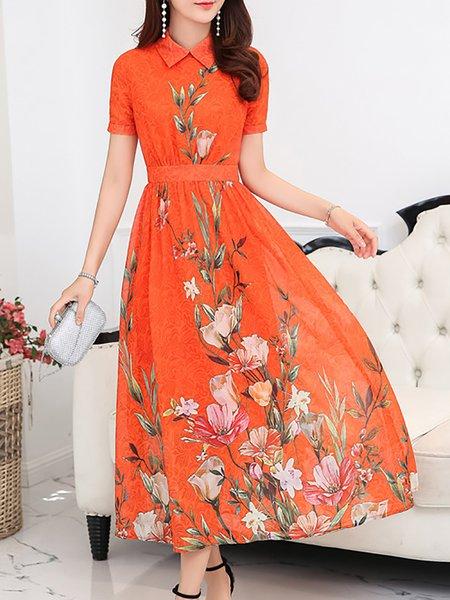 Shirt Collar  Maxi Dress A-line Daytime Short Sleeve Vintage Dress