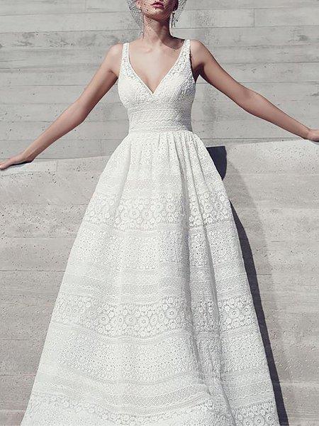 V neck White Maxi Dress Lace Plain Dress