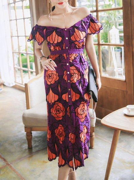 Elegant Off Shoulder Floral Embroidered Statement Midi Dress