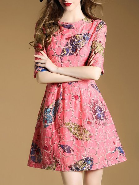 Girly Pink Eyelet Elegant Fish Printed Embroidered A-line Dress