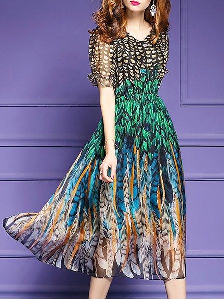 Boho Printed Chiffon Swing Dress