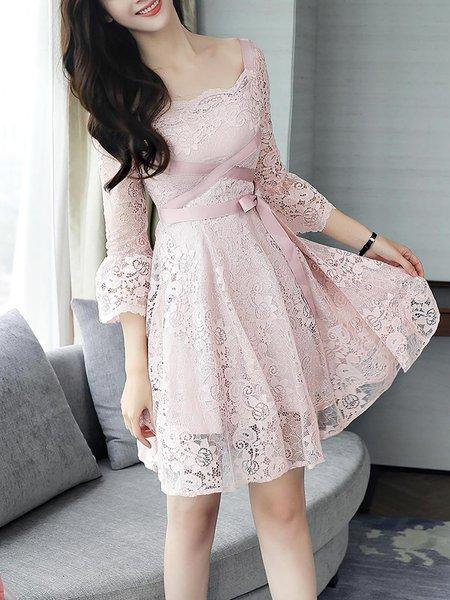 Elegant Square Neck Bell Sleeve Guipure Lace A-line Midi Dress