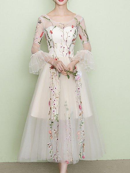 Beige Maxi Dress Swing Party Bell Sleeve Vintage Dress