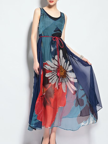 Plus Size Boho Elegant Floral Printed Chiffon Swing Maxi Dress with Belt