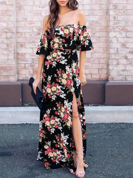 Black Off Shoulder Bell Sleeve Floral Boho Swing Slit Gathered Printed Maxi Dress