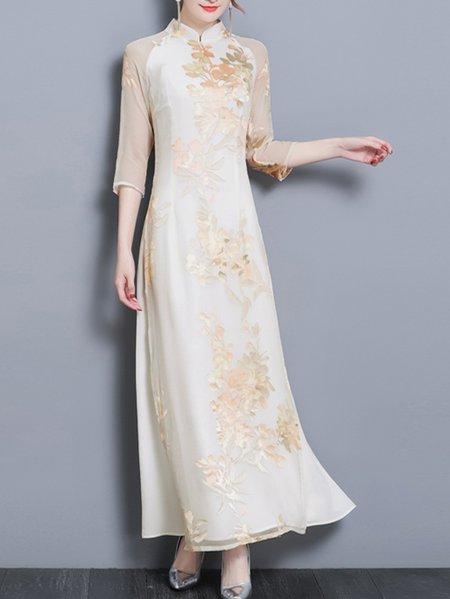 Vintage A-line Stand Collar Printed Chiffon Elegant Maxi Dress