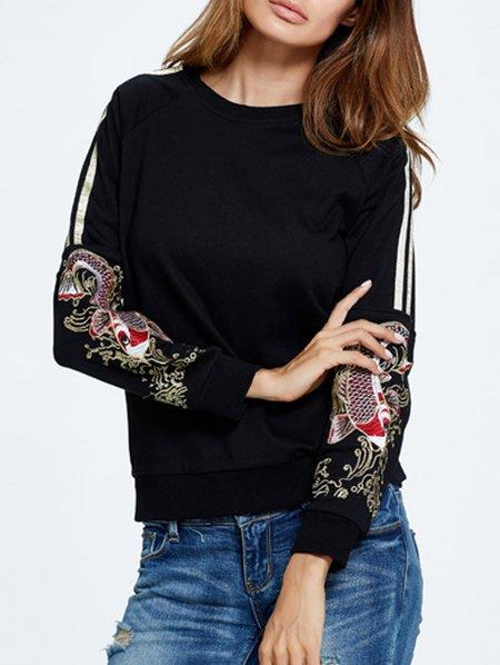 Animal Long Sleeve Casual Embroidered Crew Neck Sweatshirt