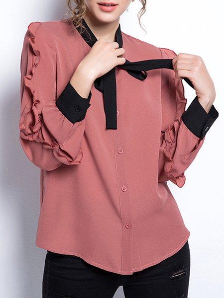 Pink Ruffled Long Sleeve Bow Paneled Tie-neck Blouse