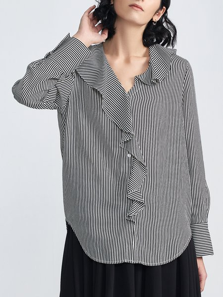 Black-white V Neck High Low Long Sleeve Casual Stripes Ruffled Asymmetric Blouse