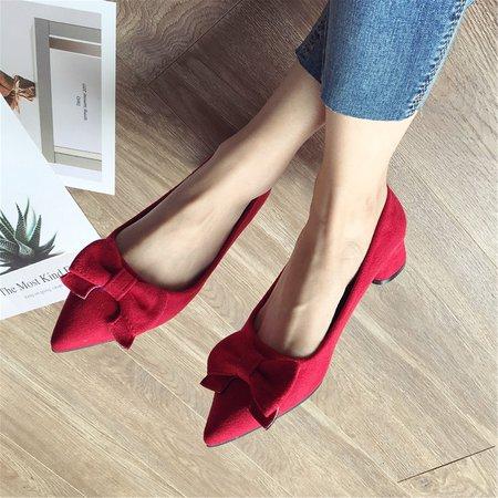 Ladies Bowknot Suede Chunky Heels