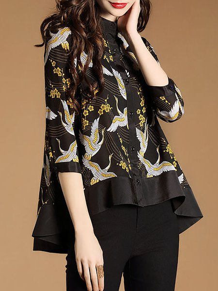 Multicolor Floral High Low Printed Blouse