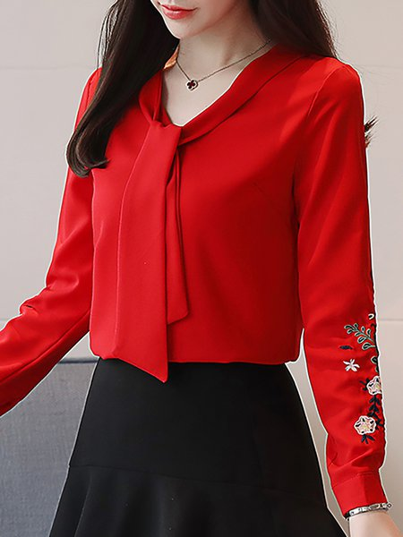 Long Sleeve Tie-neck Floral-embroidered Blouse