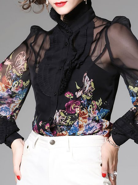 Statement Stand Collar Floral Balloon Sleeve Pleated Printed Blouse