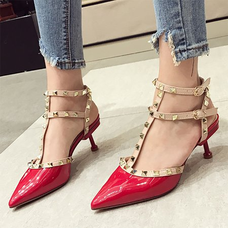 Rivet Date Buckle Pointed Toe Sexy Stiletto Heels