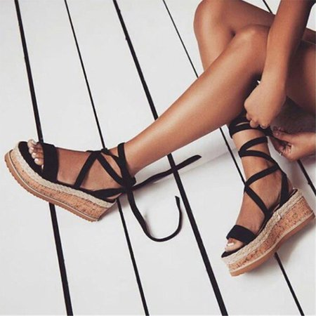 Suede Daily Lace-up Summer Wedge Sandals