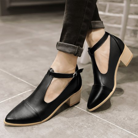 Hollow-out Buckle Pointed Toe Chunky Heels