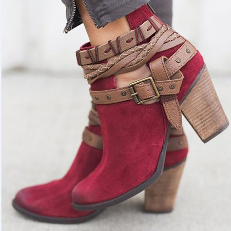 Velvet Adjustable Buckle Daily Pointed Toe Chunky Booties