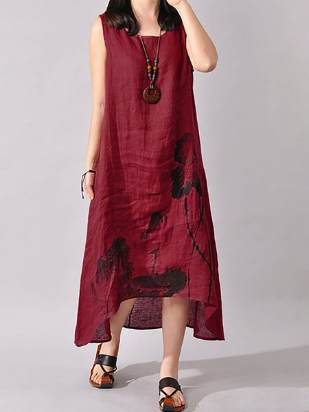 Linen Dress Asymmetrical Asymmetric Floral Dress