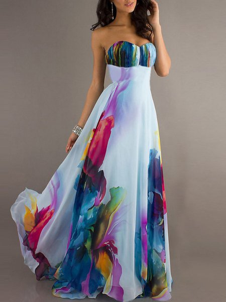Abstract Printed Strapless Statement Prom Maxi Dress