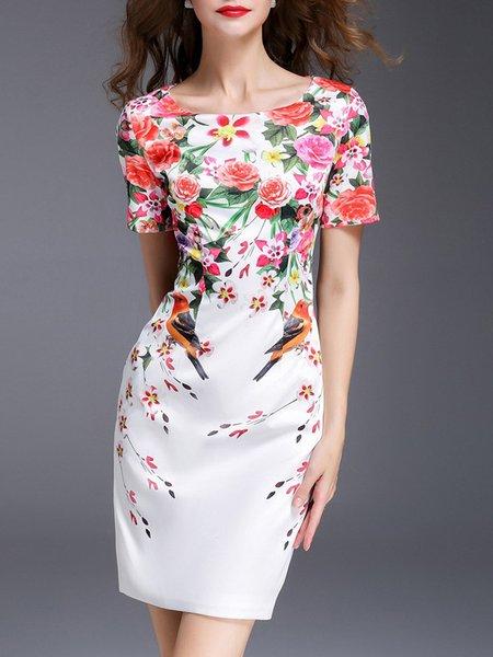 White Midi Dress Daytime Short Sleeve Floral Dress