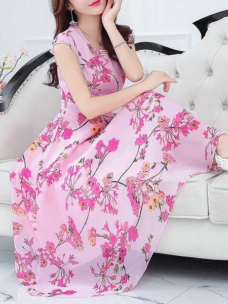 Elegant Boho Floral Printed Chiffon A-line Maxi Dress
