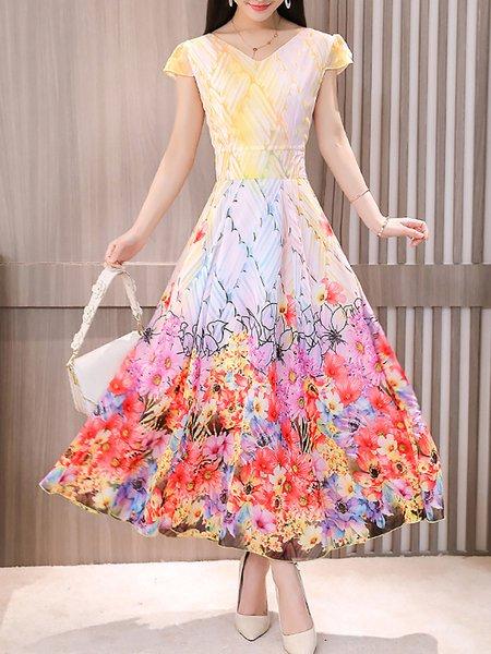 V neck  Maxi Dress A-line Daytime Short Sleeve Vintage Dress