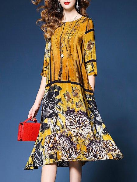 Yellow Midi Dress Shift Daily Half Sleeve Floral Dress