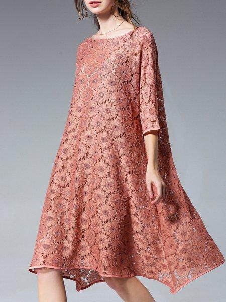 Elegant Guipure lace Shift Midi Dress