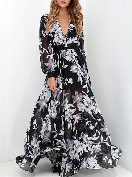 Elegant Boho Printed Plunging neck Swing Maxi Dress