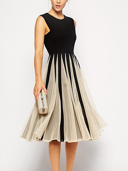 Elegant Paneled Mesh A-line Midi Dress