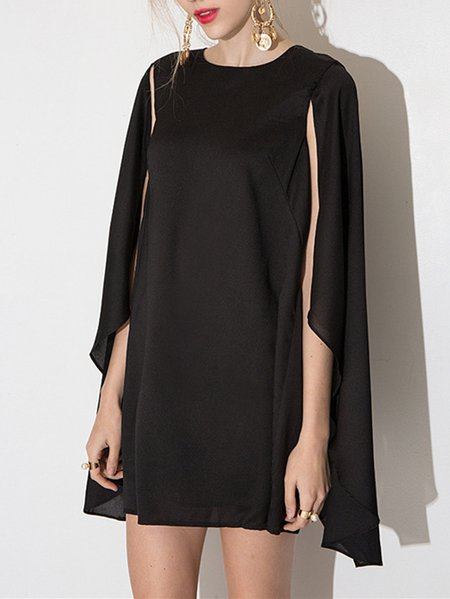 Elegant Statement Cape Sleeve Chiffon Shift Mini Dress