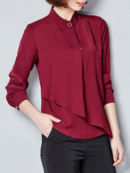Solid Stand Collar Long Sleeve Asymmetric Blouse