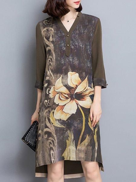Elegant Printed Asymmetric Shift Midi Dress