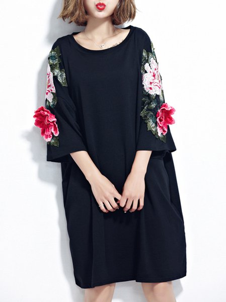 Floral Embroidered Shift Statement Midi Dress