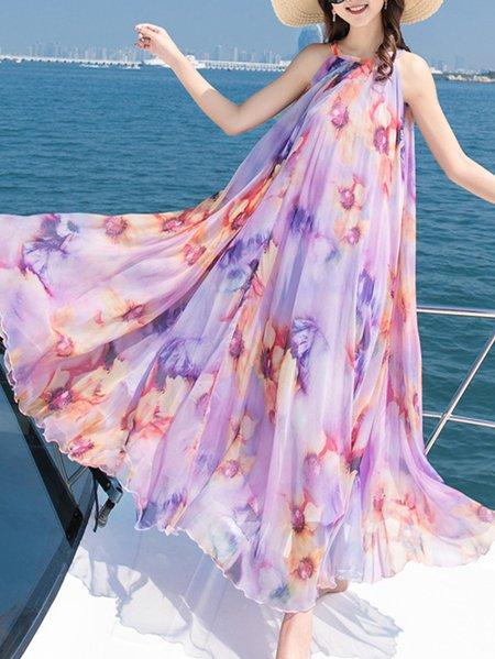 Boho Halter Printed A-line Chiffon Maxi Dress