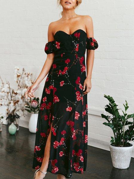 Sexy Boho Off Shoulder A-line Chiffon Maxi Dress
