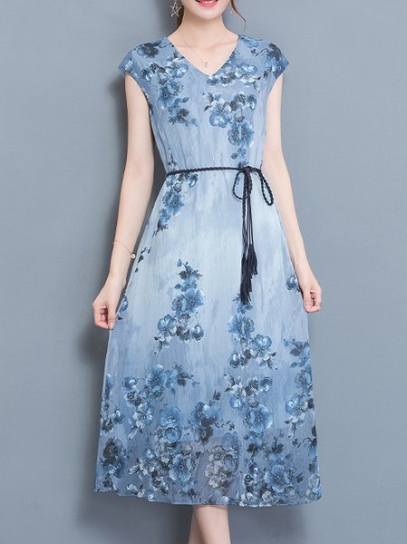 Elegant Floral Printed A-line Chiffon Midi Dress