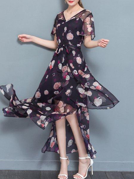 Elegant Printed Chiffon A-line Maxi Dress
