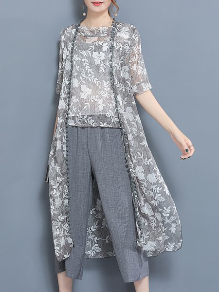 Gray Casual Cotton-blend Three-piece Outfits